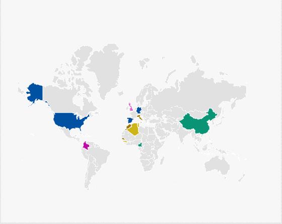 15 principaux pays d'origine