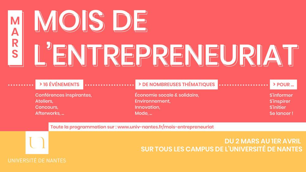 Mois de l'entrepreneuriat 2020 - Université de Nantes