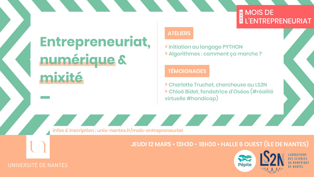 Entrepreneuriat, numérique et mixité - Université de Nantes