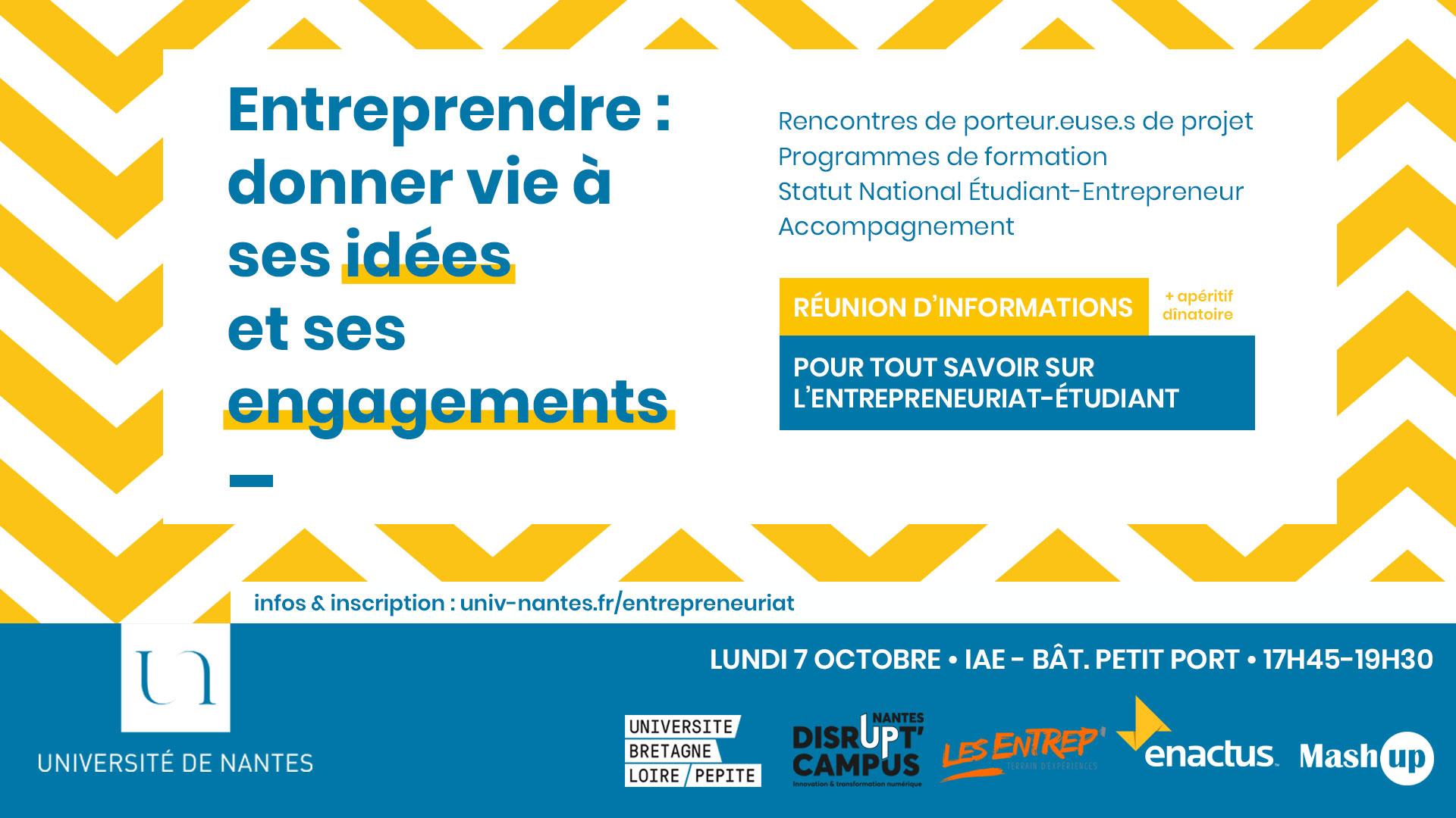 Réunion d'infos - entrepreneuriat étudiant