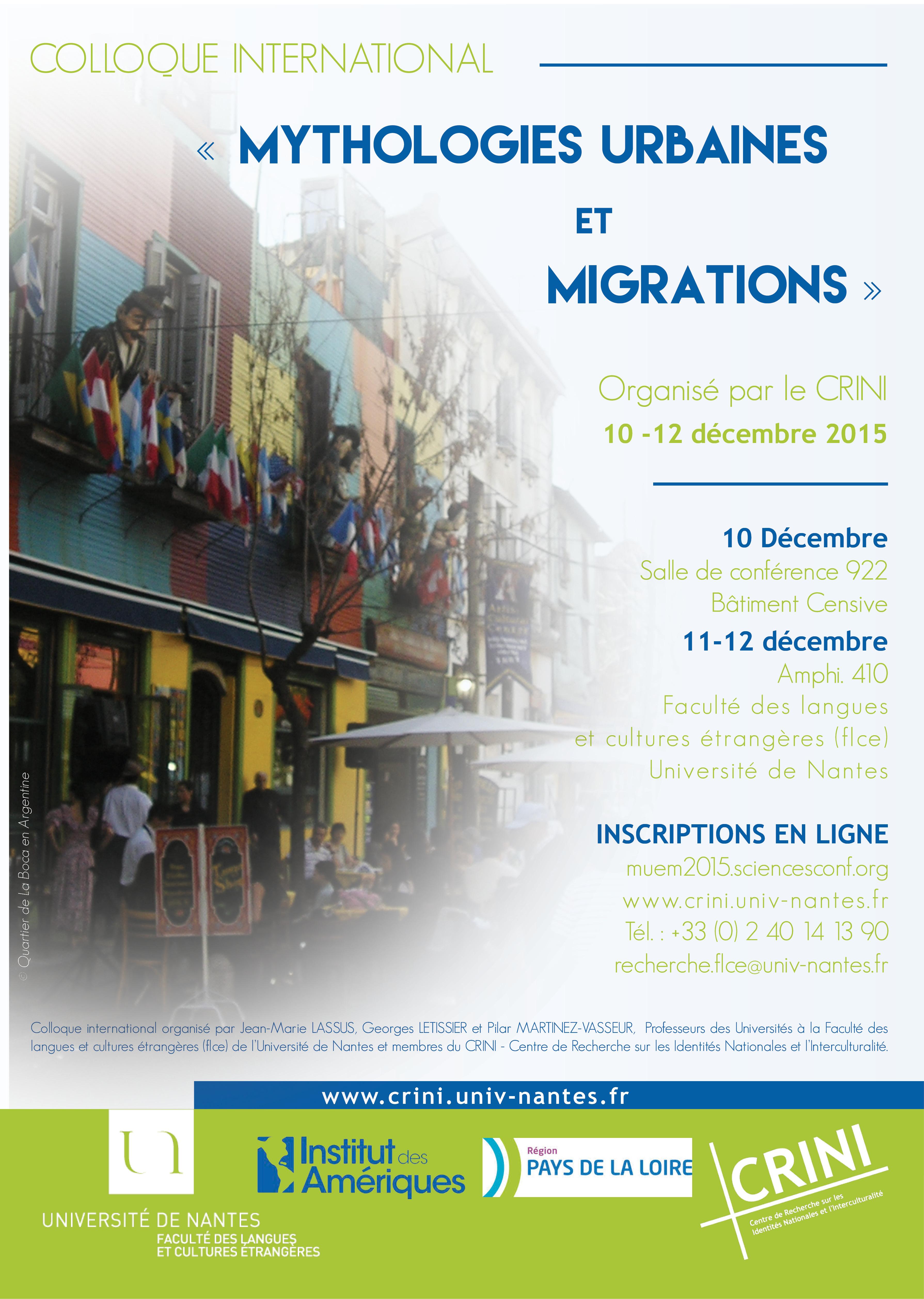 "colloque international ""mythologies urbaines et migrations"""